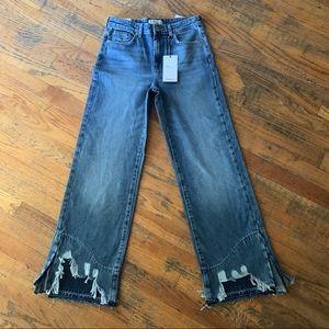 Forever 21 High Rise Straight Leg Raw Hem Jeans
